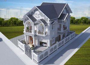Thiết kế biệt thự Pháp 2 tầng mái thái đẹp