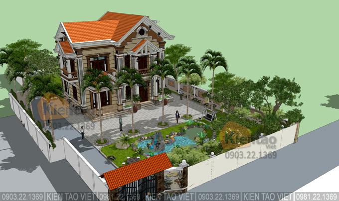 Tổng quan biệt thự vườn 2 tầng tân cổ điển